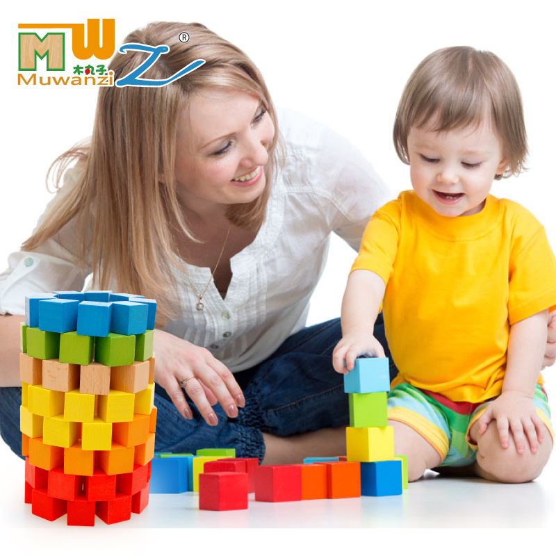 100PCS magic cube blocks 2.5*2.5CM 6 colors Childrens educational wooden toy building blocks kids gifts<br>