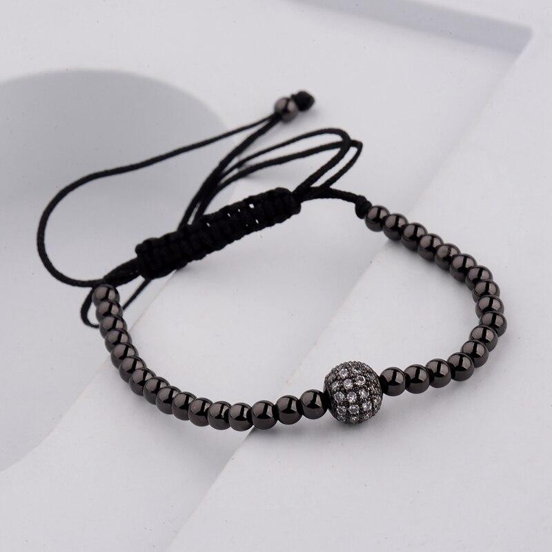 DOUVEI 17 New Black Diy Design Pave CZ Ball Charm Bracelet Men Women Braided Macrame Copper Beads Jewelry Gift For Men Women 3