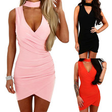 New Sexy Women Halter Dress Summer Sleeveless Bandage Hot Package Hip Dress Deep V Neck Evening Party Mini Dress