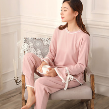 Autumn and winter, pajamas, female thread, pure cotton Princess suit, sweet, simple bow ribbon, outer sleeve can be worn