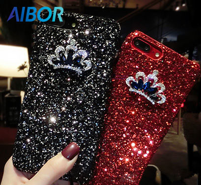 AIBOR luxury Sexy 3D Bling Glitter queen Crown diamond bling Phones Case apple iphone 5 5S SE 6 6s 7 8 PLUS X Flash cover