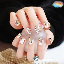 Metal Plating False French Acrylic Nail Tips Without Nail Glue Beauty Nail For Fashion Lady Short Silver N06