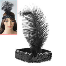 Girl Charming Mysterious Feather Headband Flapper Sequin Costume Fancy Dress Hair Band Show Dancing Party Cocktail Actress Black
