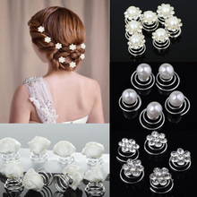 PINKSEE 12PCS Wedding Hair Accessories Flower Crystal Simulated Pearl Hair Pins Hair Clip For Women Ornaments 4 Styles