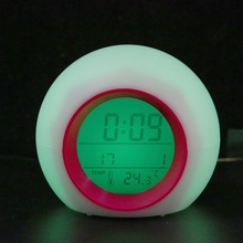 Round 7color Changing Snooze Alarm Clock Digital LED Alarm Clock Calendar Thermometer Natural Sound Table Clock With Backlight