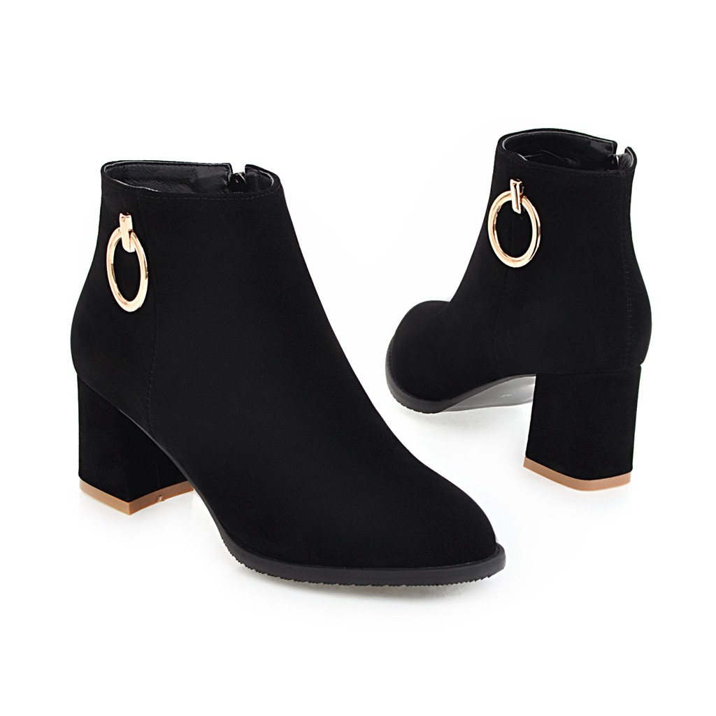 2018 New ankle women boots thick high heels boots ladies boots women dress shoes large size 34-43