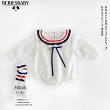 2017 Spring Striped Rompers Kids Newborn Japen Style Baby Jumpsuit long sleeves for babies branded Infant Girls Rompers W/ Socks