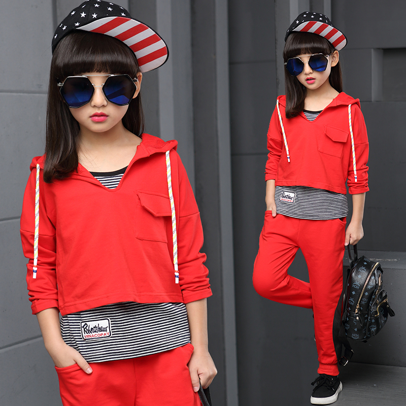 Spring autumn girls clothing set striped vest kids suit set casual 3pcs sport suit for girl tracksuit girls school suits 4-12Y<br><br>Aliexpress