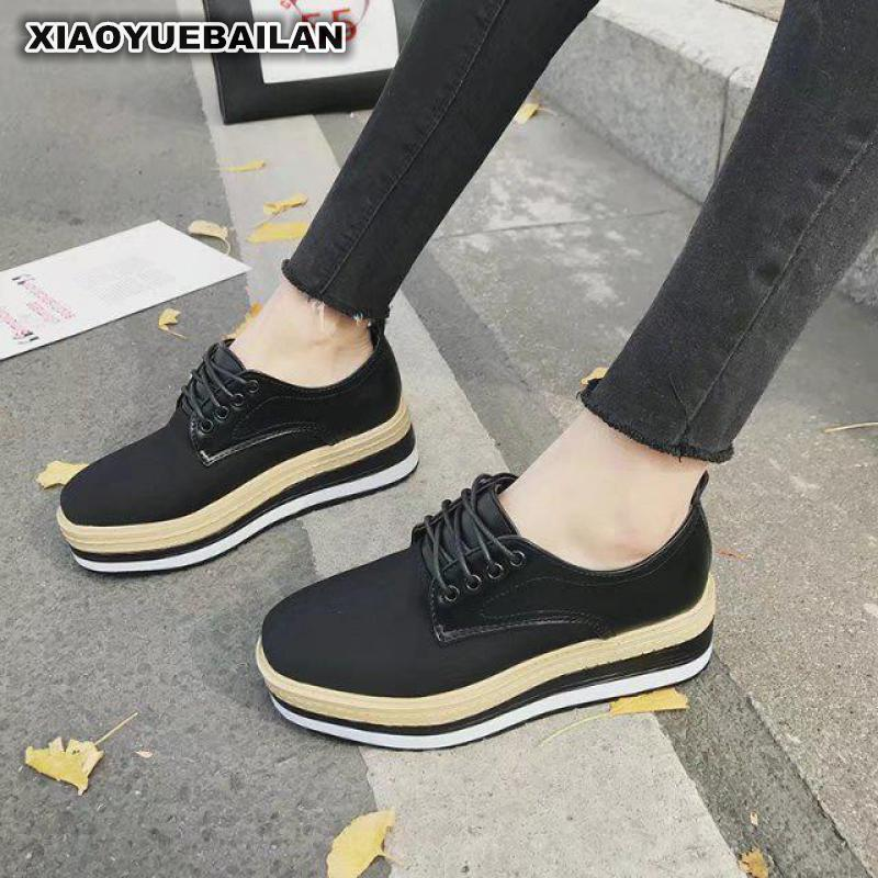 The Spring 2018 New Platform Shoes Thick Bottom Tie Round High Heels Casual Waterproof Deep Woman 8<br>