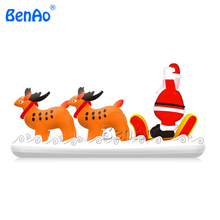 X147Free shipping 5m Decorative Inflatable Christmas Sleigh with Santa for Christmas,christmas inflatable Santa Claus decoration(China)