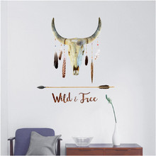 Wild&Free Indian Style Goat's Head Wall Stickers Creative Retro Mysterious Wall Sticker for Living Room Home Decor 70*50cm