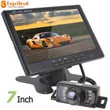 "Hotsale Super Thin 800 X 480 7"" Color TFT LCD Car Monitors 2 Video Input Rear View 7 IR Lights Rearview Parking Camera(China)"