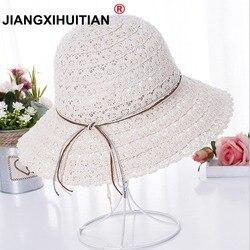 Женская летняя складная соломенная шляпа с полями