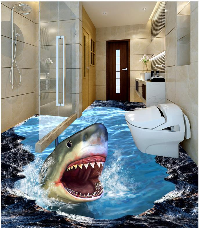 Bathroom 3d wallpaper floor 3D wall murals wallpaper floor  Floor wallpaper 3d for bathrooms dolphin Home Decoration <br>