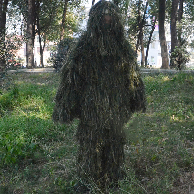 2017New Forest Design jungle Camouflage Ghillie Suit grass type hunting clothing yowie Sniper 3D bionic camouflage suit 4 times<br>