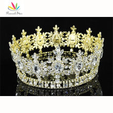 Peacock Star Men Pageant King Crown Prom Accessories Imperial Gold Color Full Circle Round Tiara Wholesale CT1791