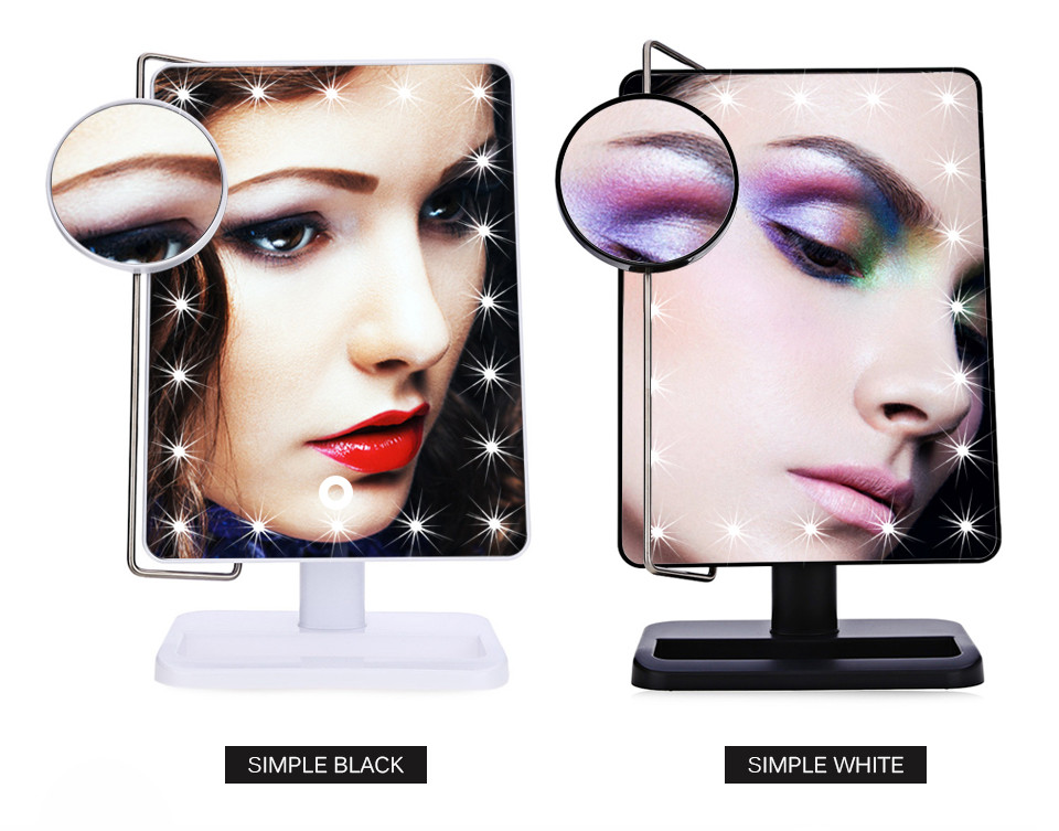 Gustala Fashion Portable Rotatable Folding Table 20 LED Lamp Luminous Cosmetic Mirror Cosmetic Makeup Tool<br>