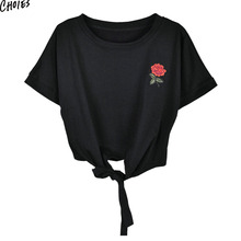 Summer T-shirt Tie Front Embroidery Floral Rose Cropped Tee Short Sleeve Round Neck Casual Black and Green Women Cotton Top(China)