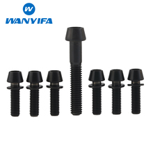 Wanyifa 6pcs Titanium Ti Upgrade Kit Bolts Screws M5 x 16mm Conical Head With Washer For Stems And 1pcs M6x35 For Headset Caps(China)