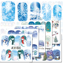 1Sheet Christmas Snowman Nail Art Decals Full Wraps Nail Art Water Transfer Stickers tips Decoration Manicure Tools BEA1177-1188