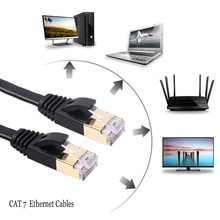 High Speed CAT7 RJ45 Internet Flat Cable Patch Ethernet LAN Cable Network Cable 6.5ft/2m for Router Switch Computer Laptop