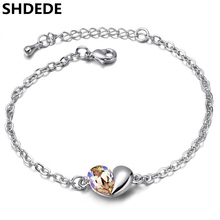 SHDEDE Heart Crystal from Swarovski Charm Bracelets For Women Fashion Wedding Bridal Party Jewelry Gift High Quality +13018