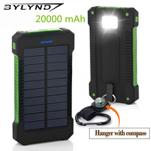 BYLYND Solar Power Bank 20000mAh Double USB Solar charger External Battery Portable Charger Bateria Externa Pack for smart phone(China)