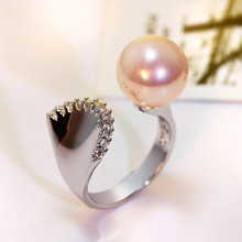 New 2017 MOP Shell pearl rings for women Unique design Ladies Rhodium Gold-color Fashion Pink color Hot sell Girls Fashion ring(Hong Kong)