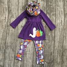 Halloween FALL/Winter baby girls outfits 3pieces scarf purple top goest pumpkin BOO long pant boutique children cotton clothes(China)