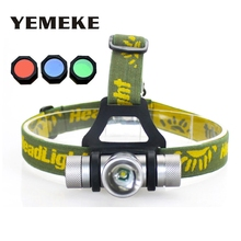 4 Color Headlamp 1000 Lumens CREE Q5 LED Headlight Head lamp Zoom LED Head Light Lamp with Red/Green/Blue Diffuser