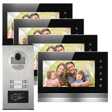 "4 Apartments building access control interfone 7"" color display night vision door camera with RFID card reader"