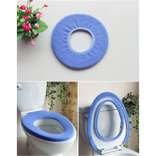 Bathroom Warmer Toilet Cloth Washable Seat Cover Pads Toilet Seat Cover Random Color #03