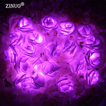 ZINUO Battery Powered 2M 20PCS Rose Flower Novelty Garland Fairy String Lights For Wedding Garden Party Christmas Decoration(China)