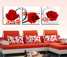 3 Panel Hot Sell Modern Wall Painting Home Decorative Art Picture Paint on Canvas Prints Crimson roses 2(China)