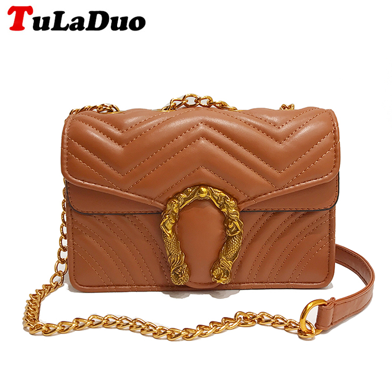 Designer Women Chains Messenger Bags Pu Leather Shoulder Bag Vintage Small Crossbody Bags For Women Flap Bag Chain bolsos mujer<br>