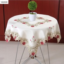 vezon Europe Hot Sale 85*85cm Elegant Polyester Embroidery Floral Tablecloths Cutwork Towel Embroidered Table Cloth Topper Home(China)