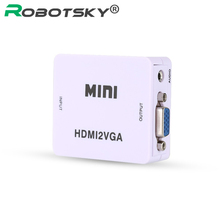 Real HD 1080P Chip 1920*1080@60Hz Mini HDMI to VGA Converter HDMI to VGA Adapter Connector With Audio For PC Laptop HDTV PS3