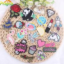 Prajna 1PCS Cute Panda Unicorn Flamingo Patch Beauty Planet Diamond Embroidered Appliqued Sticker Iron On Hats Vest Flower Patch
