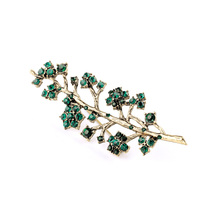 2017 New arrival Fashion Elegant Green Rhinestone on Alloy Branch Evening Party Costume Brooches Pins For Women Accessories