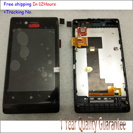 100% Original Black For Sony Xperia Xperia Miro ST23 ST23i LCD disply+Touch screen with frame+best quality<br><br>Aliexpress