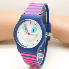 cute cat Waterproof Kid Watches Children Silicone Wristwatches butterfly Brand Quartz Wrist Watch Fashion Casual Relogio watch(China)