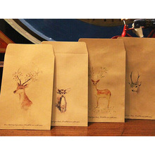 10Pcs/Lot Deer Painting Small Kraft Bitty Bags Envelopes Chinese Wash Painting Deer Party Favor Candy Gift Paper Bags 75Z