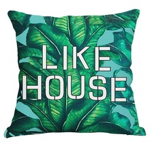 Cushion Cover Printed Cushion Cover Green Banana Leaf Decorative Pillow Covers Bean Bag Filler Sofa Cover Sequined Pillows Boho(China)