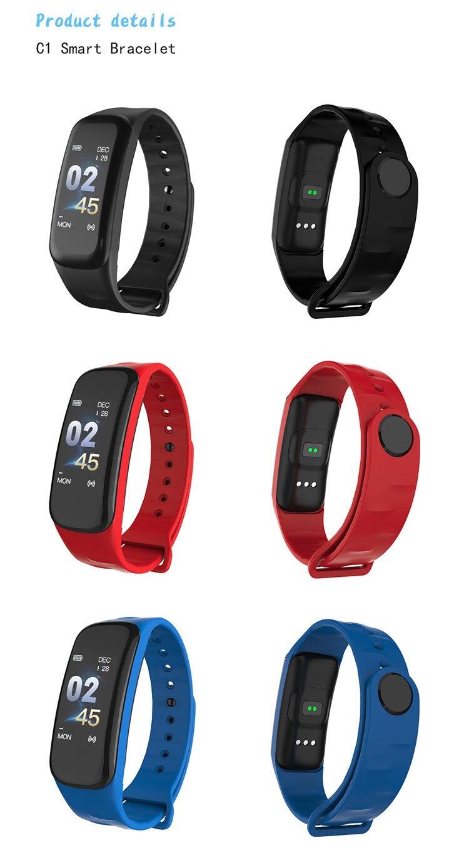 Original C1Plus Smart Bracelet Color Screen Blood Pressure Waterproof Fitness Tracker Heart Rate Monitor pk fitbits miband 3 17