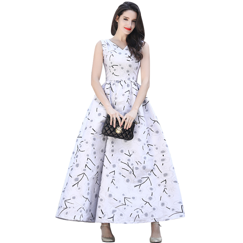 DF Luxury Vintage Embroidery Flowers Summer Maxi Dress Slim Plus Size Women Clothing Muslim Sleeveless Party Night Dresses 6071