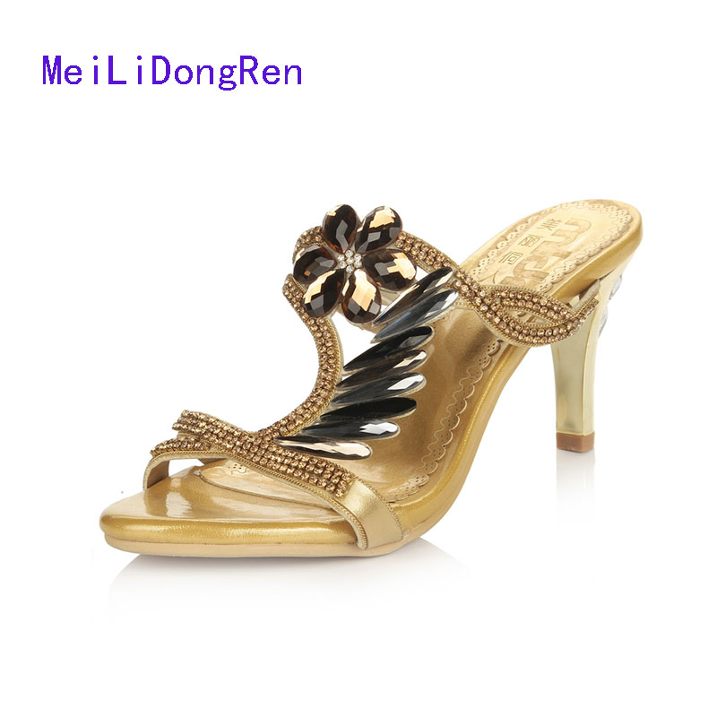 2017 summer new diamond high-heeled slippers luxury gold pumps slip on rhinestone flowers Princess shoes plus size 33-42<br>