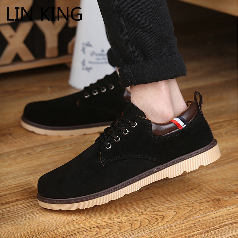 LIN KING Men Flat Shoes Thick Sole Lace-up Low Heel Round Toe Work Shoes Massage Low Top Flock Height Increasing Ankle Shoes<br><br>Aliexpress
