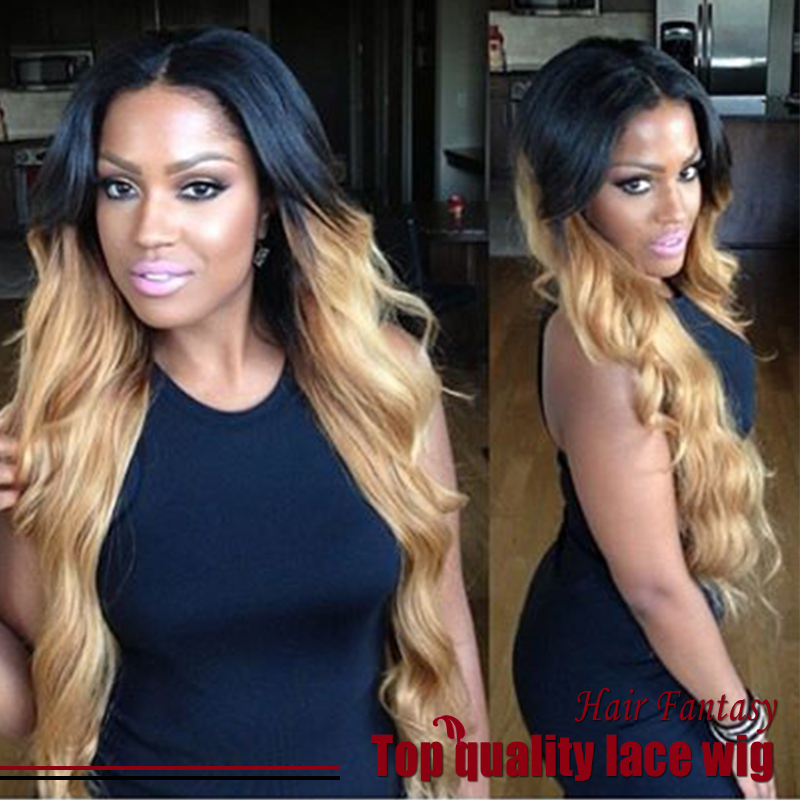Two Tone Ombre Blonde Hair Body Wave Lace Front Wigs honey blonde Middle Part Heat Resistant Synthetic Wigs For Black Women <br><br>Aliexpress