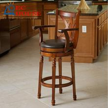 American solid wood rotating chairs retro European simple cafe stool bar chair backrest FREE SHIPPING