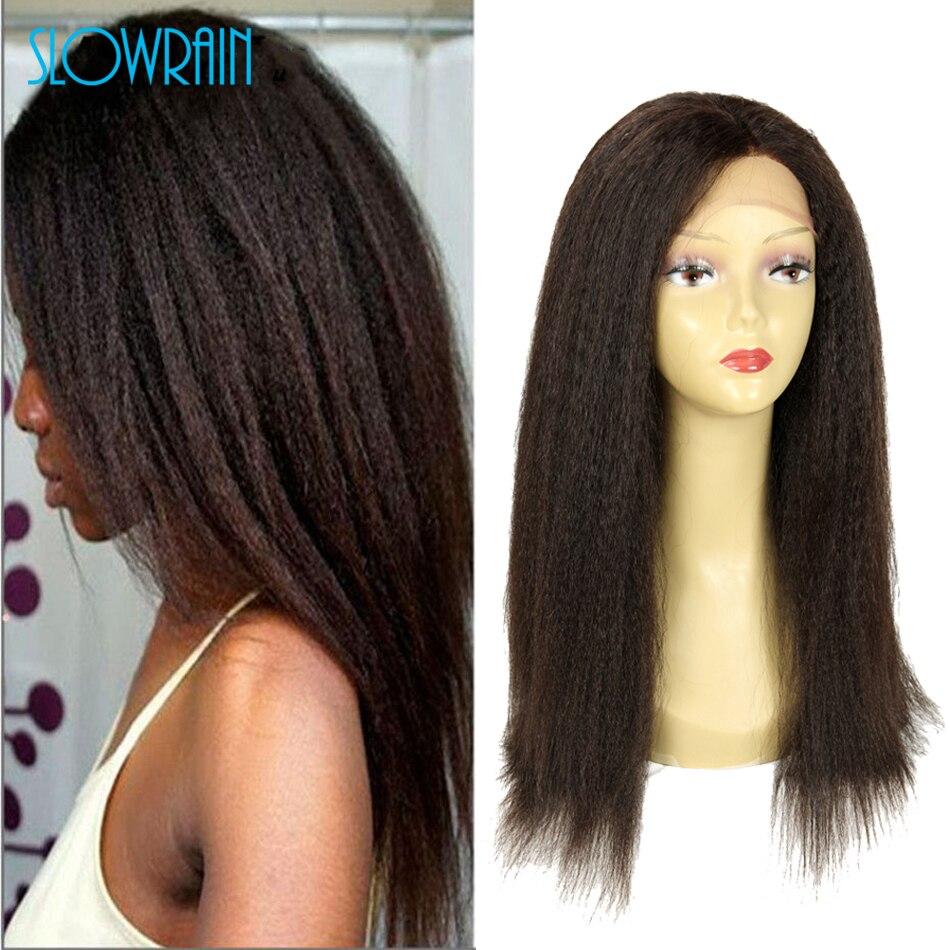 Coarse Yaki Front Lace Human Hair Wigs Brazilian Kinky Straight Lace Wig 7A Glueless Full Lace Human Hair Wigs For Black Women<br><br>Aliexpress